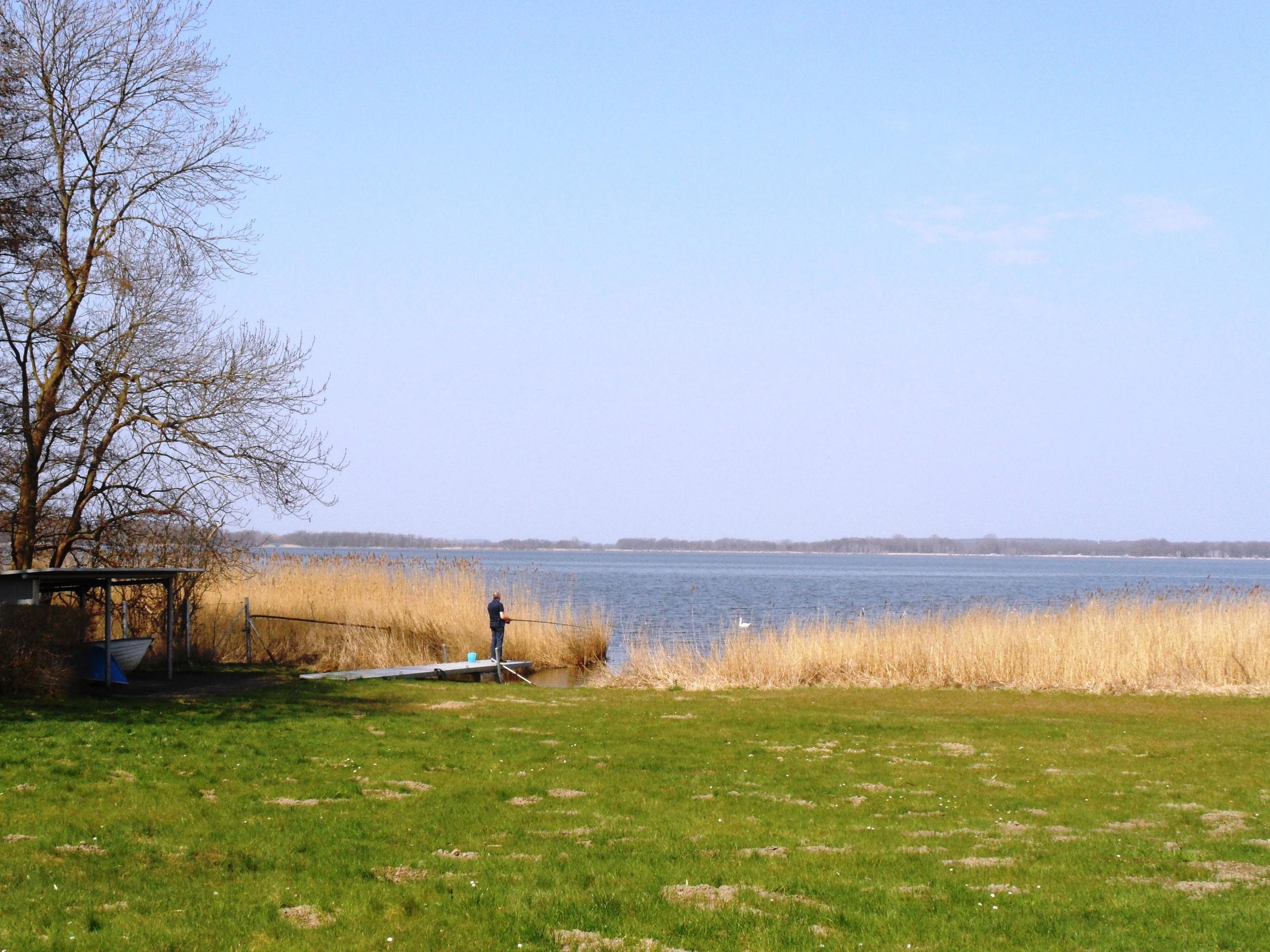 Liegewiese und Schmollensee (mit Badesteg u. Ruderboot) direkt vor der Tür